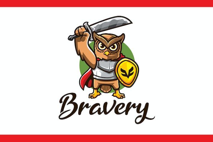 Thumbnail for Cartoon Knight Owl Mascot Logo