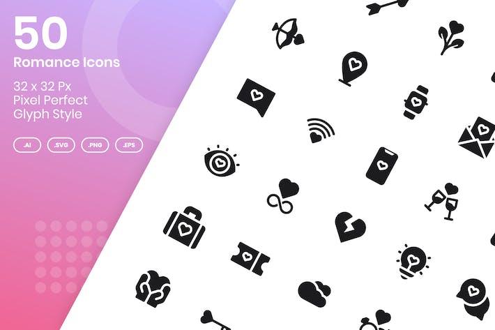 Thumbnail for 50 Romance Icons Set - Glyph