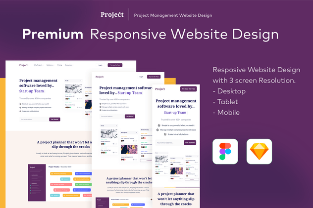 Project-Responsive Landing Page Design Template