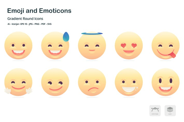Thumbnail for Emoji and Emoticons Gradient Round Icons
