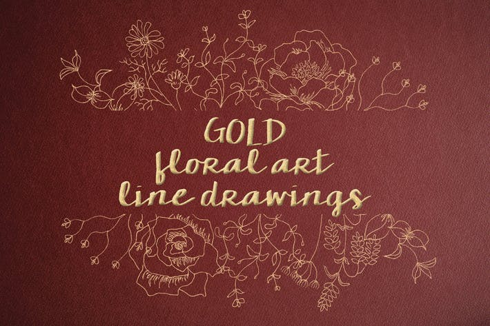 Thumbnail for Floral Line Drawings in Gold