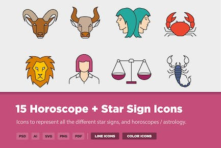 15 Horoscope, Star Sign + Astrology Icons