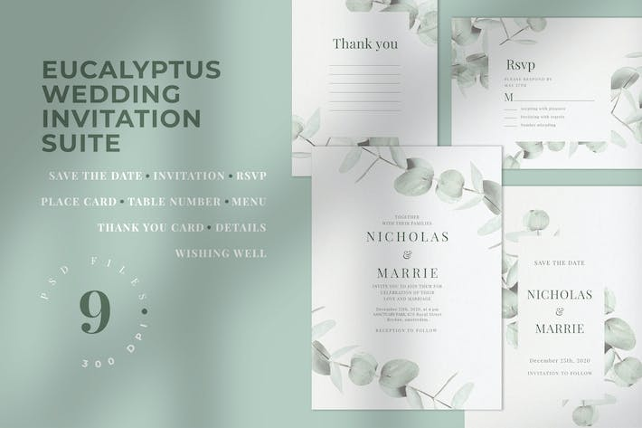 Cover Image For Eucalyptus Wedding Invitation Suite