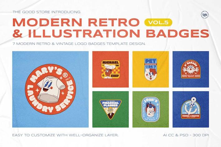 Thumbnail for Modern Retro Illustration Badges Vol.5