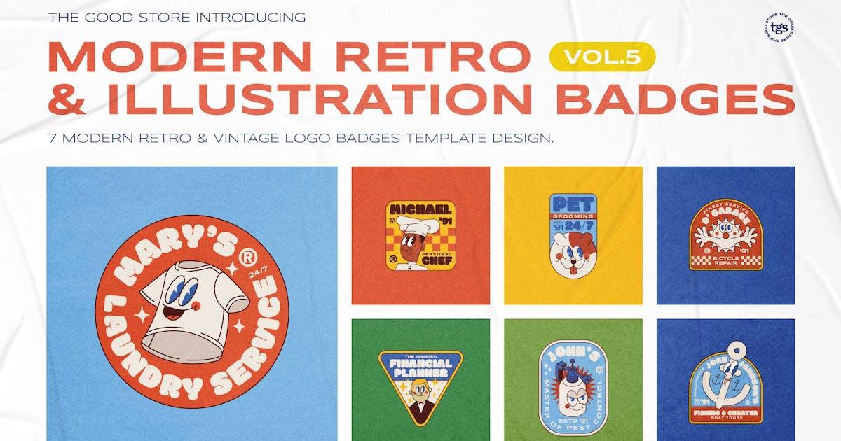 Download Modern Retro Illustration Badges Vol.5 by dannyaldana