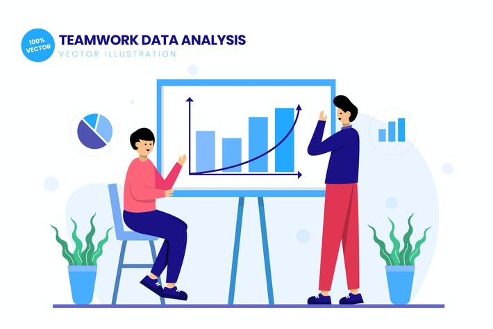Thumbnail for Teamwork Data Analysis Flat Vector Illustration