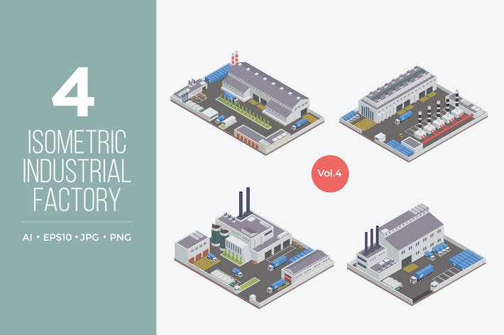 Thumbnail for Isometric Industrial Factory Vector Set 4