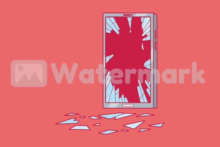 Thumbnail for Smartphone mit gebrochenem Bildschirm