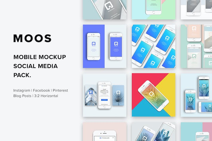 Thumbnail for Moos - Mobile Mockup Social Media Pack