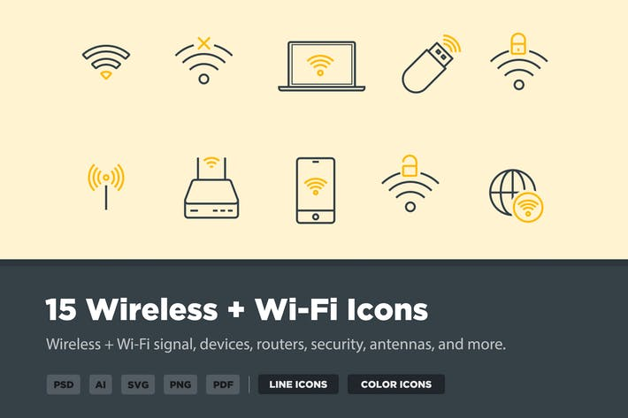 Thumbnail for 15 Wireless & Wi-Fi Icons