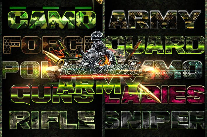 Thumbnail for Army Photoshop Text Effects