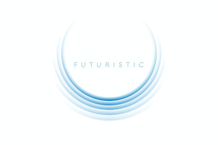 Bright blue futuristic technology round logo