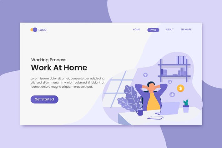 Work at home freelancer concept on landing page