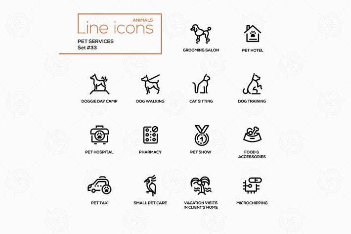 Thumbnail for Pet services - modern vector single line icons set
