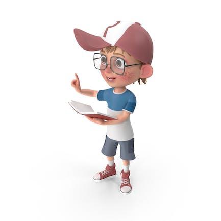 Cartoon Boy mit Buch