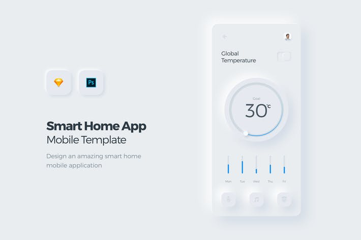 Thumbnail for Smart Home Mobile App UI Kit-Vorlage