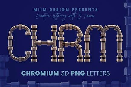 Chromium Pipes - 3D Lettering