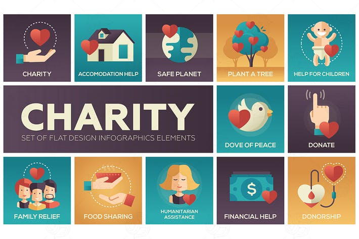 Thumbnail for Charity - set of flat design infographics elements