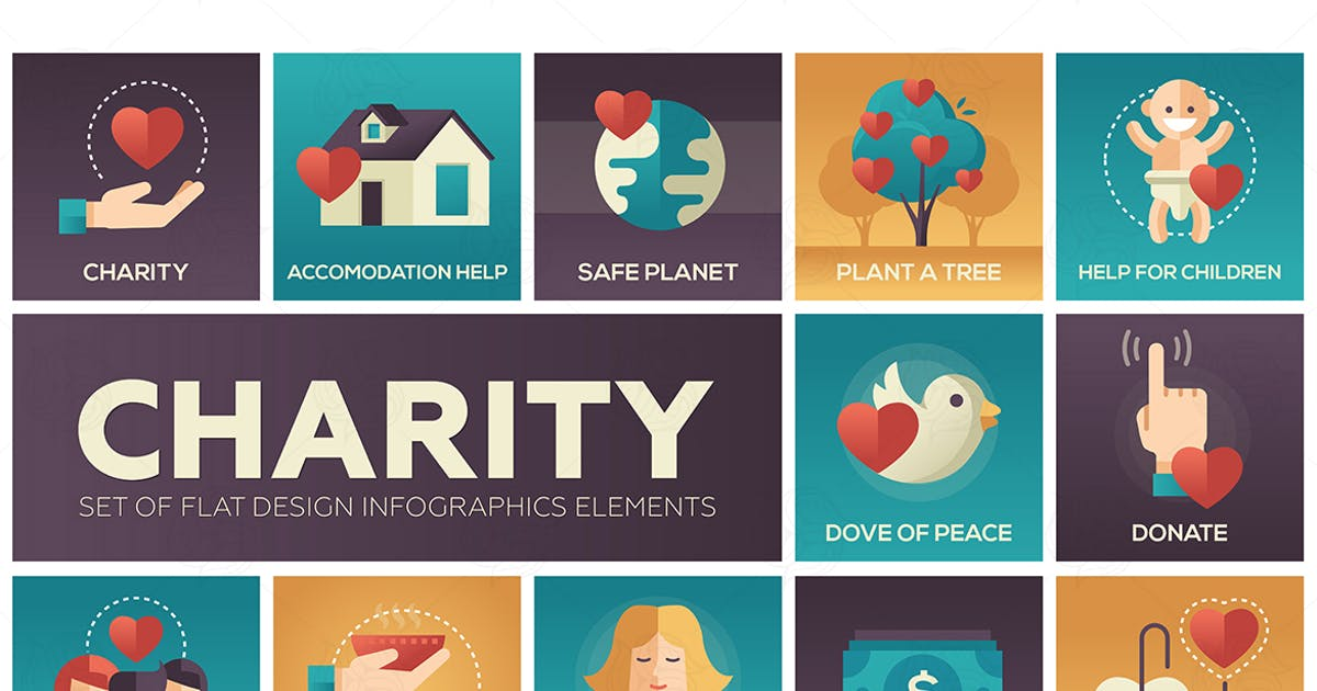 Download Charity - set of flat design infographics elements by Unknow