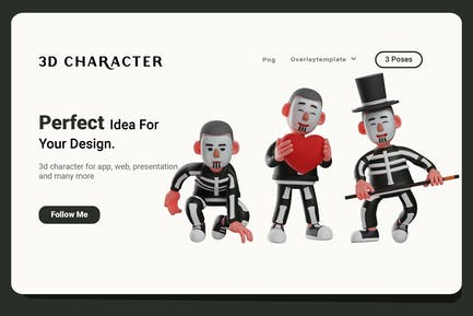 3D Cartoon Skeleton Boywith Different Pose