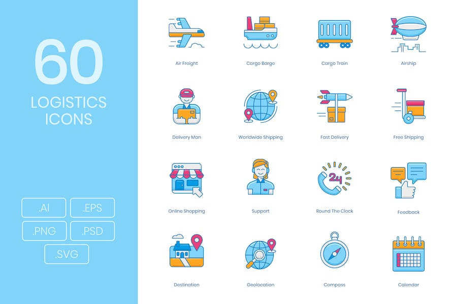 60 Logistics and Delivery Icons