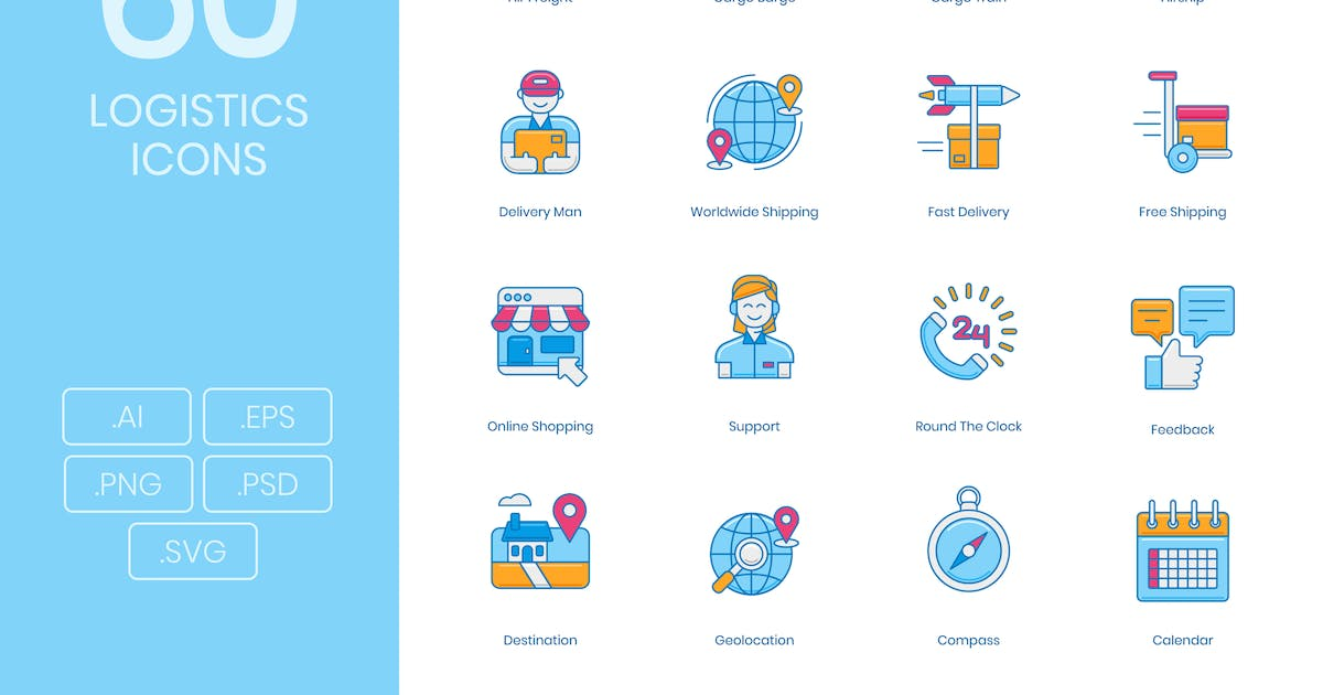 Download 60 Logistics and Delivery Icons by Krafted