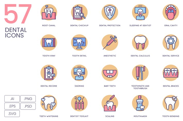 Thumbnail for 57 Dental Icons | Butterscotch Series