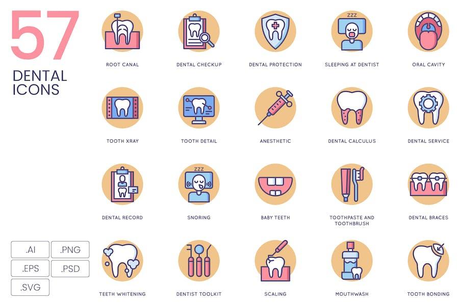 57 Dental Icons | Butterscotch Series