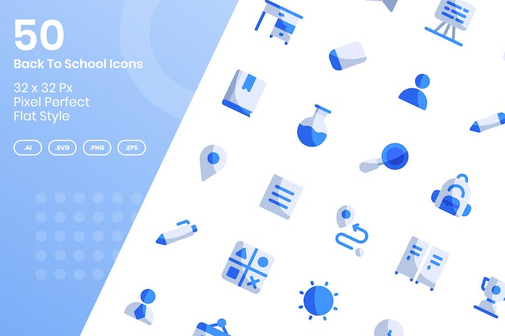 Thumbnail for 50 Back To School Icons Set - Flat