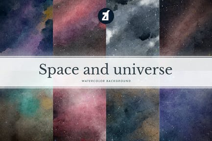 8 Universe and space watercolor background