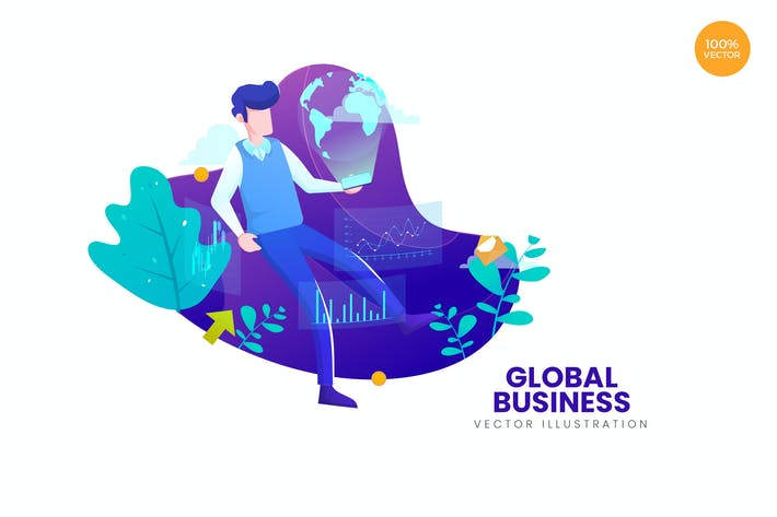 Cover Image For Global Business Vector Illustration Concept