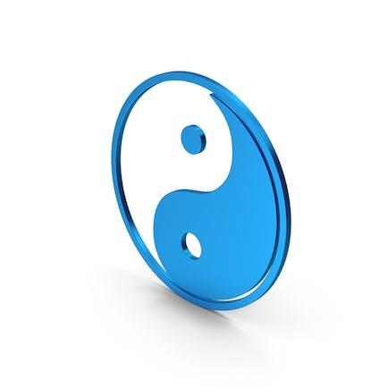 Symbol Yin Yang Blue Metallic