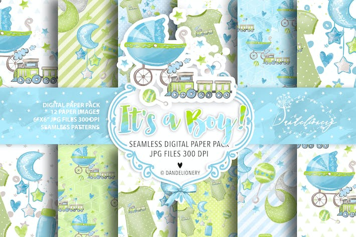 Thumbnail for It's a Boy! digital paper pack
