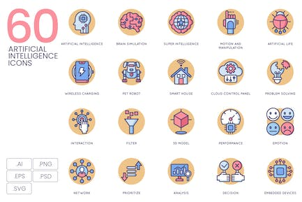 Artificial Intelligence Rounded Icons