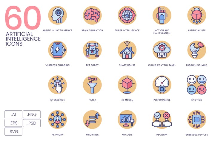 Thumbnail for 60 Artificial Intelligence Icons | Butterscotch