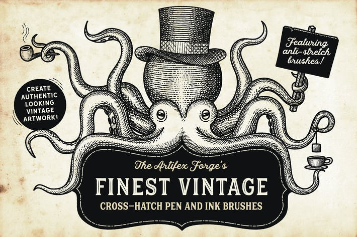 Cover Image For Finest Vintage - Illustrator Brushes