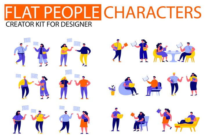 Thumbnail for Modern Flat People Character Creator Kit