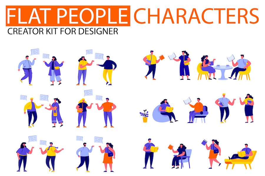 Modern Flat People Character Creator Kit