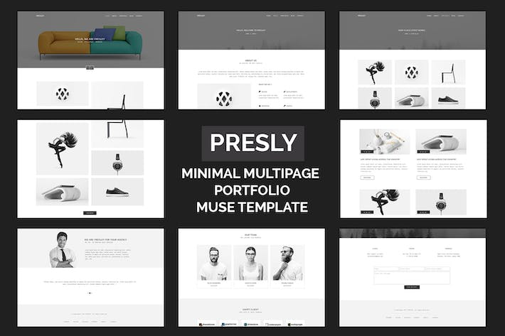 Thumbnail for Presley - Minimal Multipage Portfolio Muse Templat