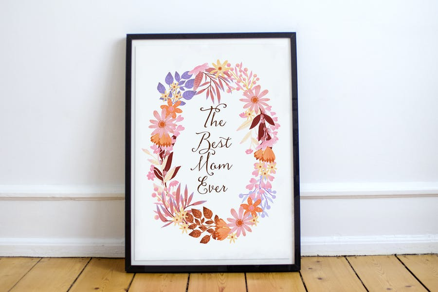 Mother's Day Poster - floral wreath