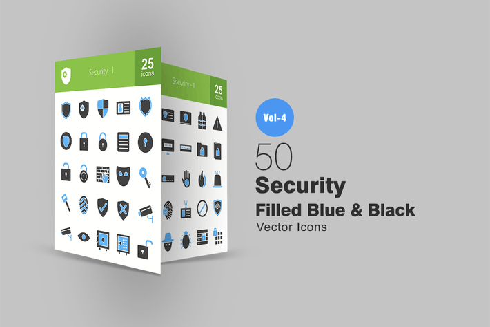 Thumbnail for 50 Security Blue & Black Icons