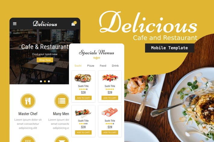 Thumbnail for Delicious - Cafe & Restaurant Mobile Template