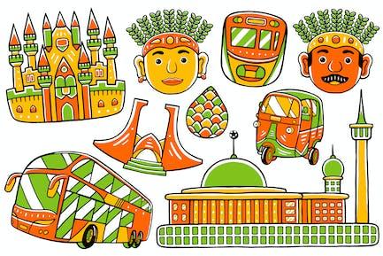 Jakarta City Doodle Vector #02
