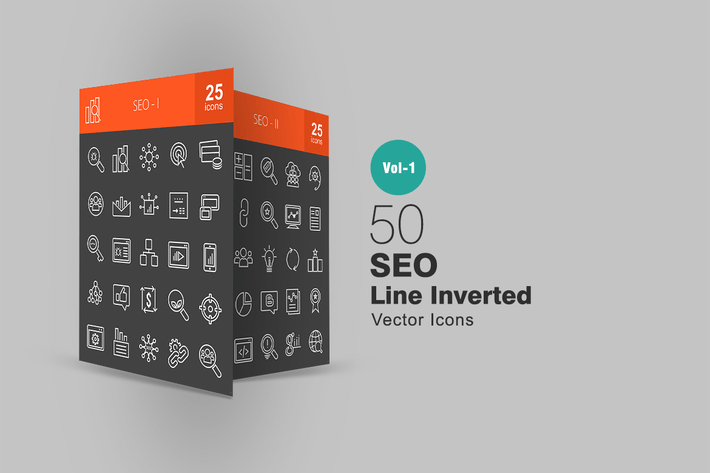 Thumbnail for 50 SEO Line Inverted Icons