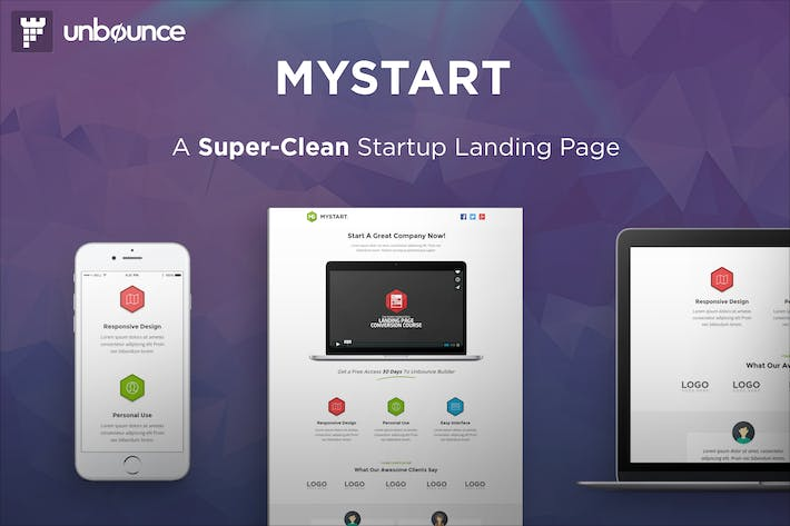Thumbnail for MyStart - Startup Unbounce Landing Page