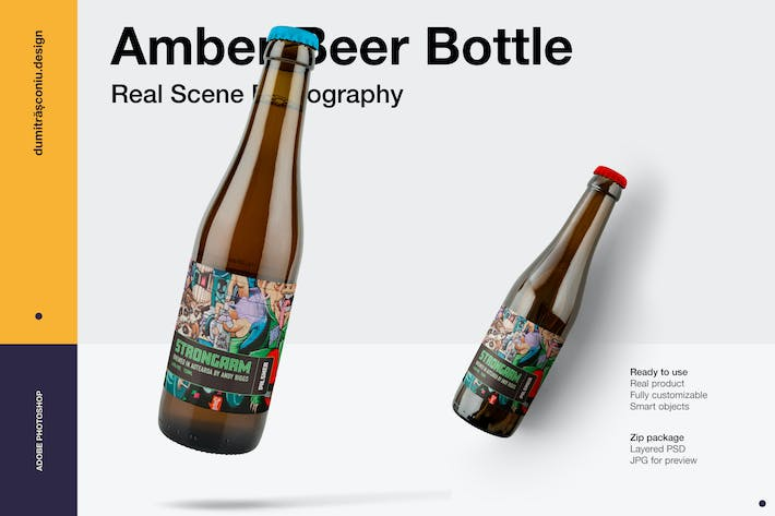 Thumbnail for Amber Beer Bottle Mockup