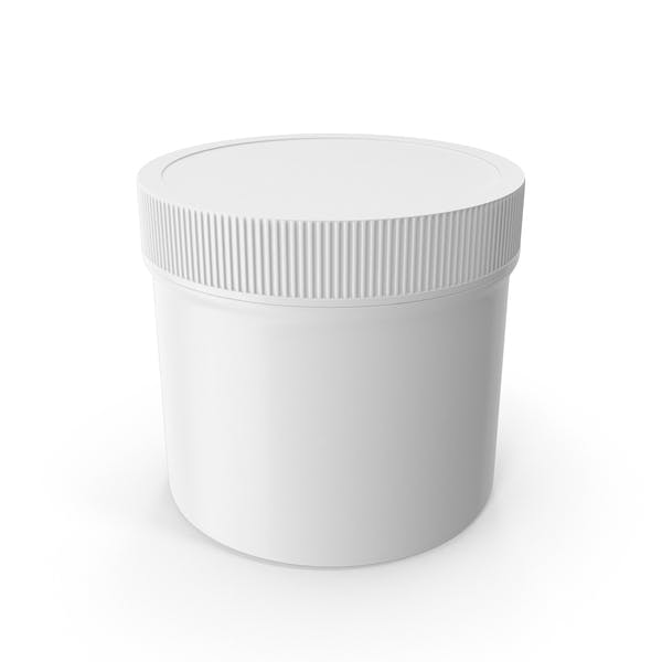 White Plastic Jar Wide Mouth Straight Sided 4oz Closed