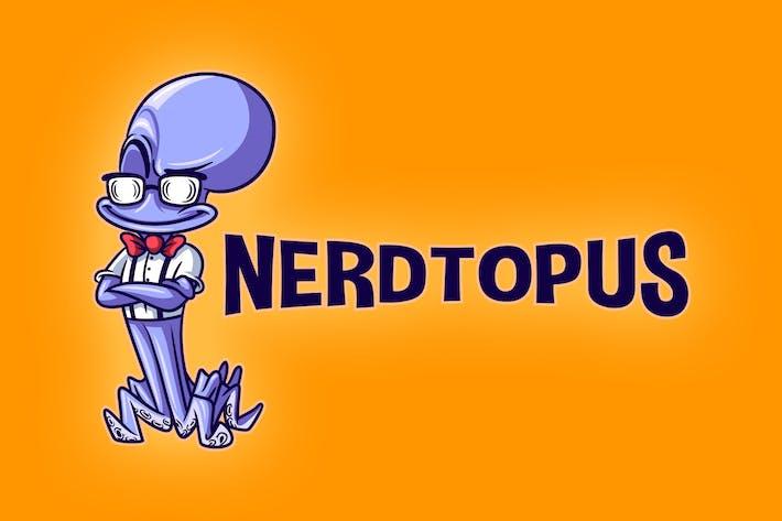 Thumbnail for Cartoon Nerd Octopus Mascot Logo