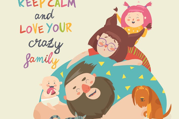 Thumbnail for Portrait of cute crazy family. Vector illustration