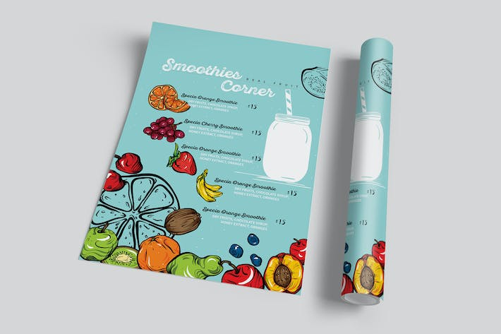 Thumbnail for Fruit Smoothie Menu Flyer